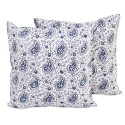 Cotton cushion covers, 'Azure Paisleys' (pair) - Pair of Indian Paisley Cotton Cushion Covers in Pearl Grey