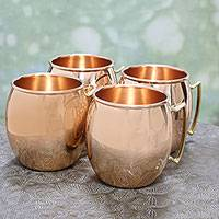Copper mugs, 'Classic Tavern' (set of 4) - Four Hand Crafted Copper and Brass Handled Mugs from India