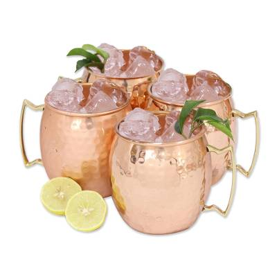 Copper mugs, 'Tavern Style' (set of 4) - Set of Four Hand Crafted Copper and Brass Mugs from India