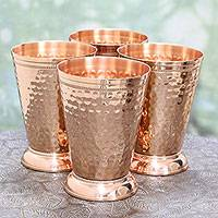 Copper julep cups, 'Traditional Sheen' (set of 4) - Set of Four Hand Crafted Copper Julep Cups from India