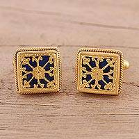 Gold plated cufflinks, 'Majestic Tendrils in Blue' - Gold Plated Blue Glass Floral Cufflinks from India
