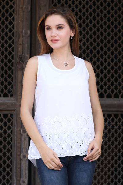 451c4db0517bb White Cotton Sleeveless Top from India - Summer Charm