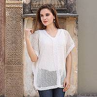 Cotton mesh tunic, 'Glamorous Lady' - Cotton Off White Cover Up or Tunic Top from India