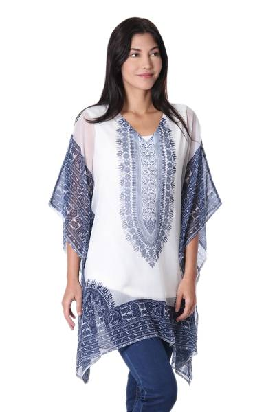 Chiffon caftan, 'Paisley Blues' - Blue and White Caftan with Floral Paisley Print