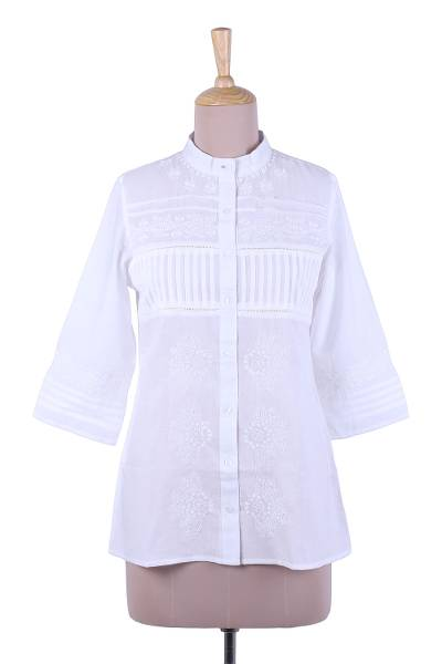 Cotton blouse, 'Effortless Grace' - Embroidered White Cotton Button Up Blouse from India