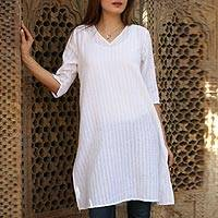 Long cotton tunic, 'Flowing Beauty' - Flowing White Cotton Tunic with Three Quarter Sleeves