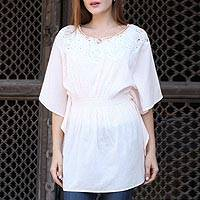 Cotton caftan, 'Stylish Grace' - Cream Cotton Caftan with Crocheted Accents