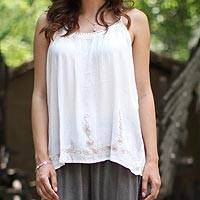 Viscose camisole top, 'Vineyard Beauty' - Semi Sheer White Viscose Camisole Style Top