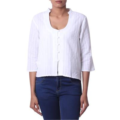 Cropped cotton blouse, 'White Queen' - White Cotton Cropped Blouse from India