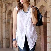 Sleeveless cotton blouse, 'Gentle Breeze'