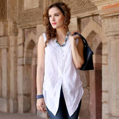 Sleeveless cotton blouse, 'Gentle Breeze' - Casual White Cotton Queen Anne Sleeveless Blouse