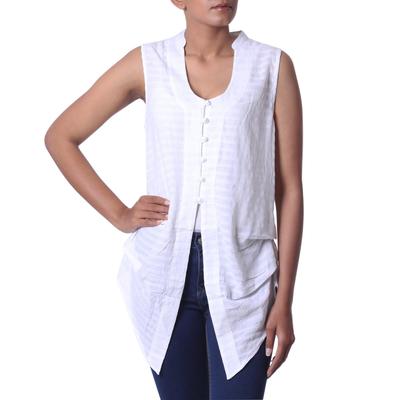 Sleeveless cotton blouse, 'Gentle Breeze' - Casual White Cotton Queen Anne Sleeveless Blouse