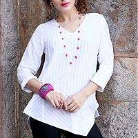 Cotton tunic, 'Cool Bliss' - White Striped Cotton Tunic with Asymmetrical Hem