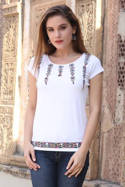 Cotton blend Madhubani t-shirt, 'Multicolor Festival' - Hand-Painted Multi Color Madhubani Art White Cotton T-shirt