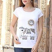 Cotton blend T-shirt, 'Madhubani Elephant' - Indian Hand Painted Cotton Blend T-Shirt of Elephant and Sun