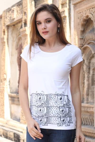 Cotton blend T-shirt, 'Madhubani Cow' - Indian Hand Painted Cotton Blend T-Shirt of Herd of Cows