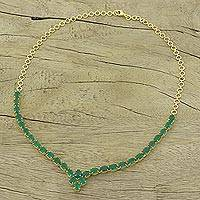 Gold plated onyx pendant necklace, 'Green Garland' - 22k Gold Plated Green Onyx Pendant Necklace from India
