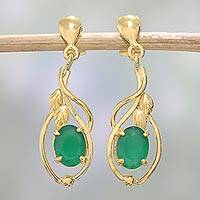 Gold plated onyx dangle earrings, 'Leafy Romance' - 22k Gold Plated Green Onyx Dangle Earrings from India