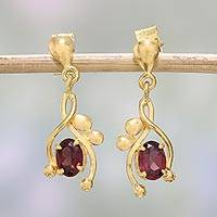 Gold plated garnet dangle earrings, 'Red Twist' - 22k Gold Plated Garnet Dangle Earrings by Indian Artisans