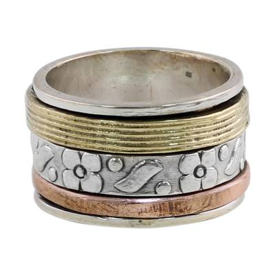 Sterling silver meditation spinner ring, 'Floral Sheen' - Sterling Silver Copper and Brass Indian Floral Spinner Ring