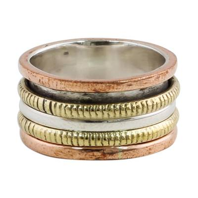 Sterling silver meditation spinner ring, 'Alluring Rotation' - Sterling Silver Copper and Brass Spinner Ring from India