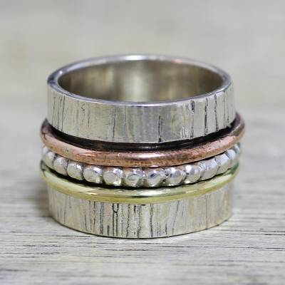 Sterling silver meditation spinner ring, Twirling Beauty