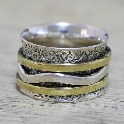 Sterling silver meditation spinner ring, 'Forest Sheen' - Indian Spinner Ring Crafted of Sterling Silver and Brass