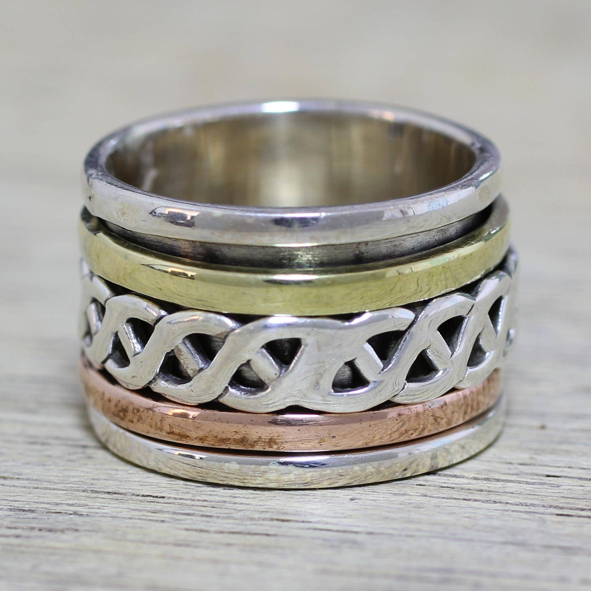 Sterling Silver Copper and Brass Spinner Ring from India