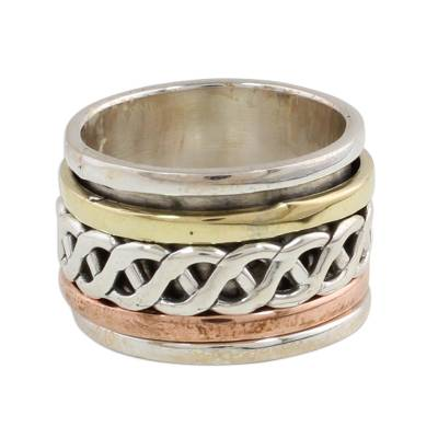 Sterling silver meditation spinner ring, 'Spinning Braid' - Sterling Silver Copper and Brass Spinner Ring from India