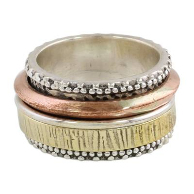 Sterling silver meditation spinner ring, 'Tri-Tone Meditation' - Sterling Silver Copper and Brass Textured Spinner Ring