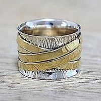 Sterling silver meditation band ring, 'Crisscrossing Grace' - Indian Band Ring Hand Crafted of Sterling Silver and Brass