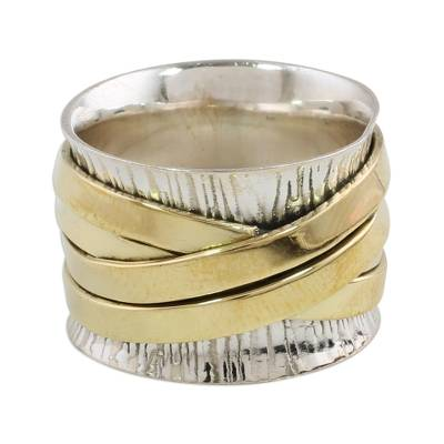 Sterling silver and brass band ring, 'Crisscrossing Grace' - Indian Band Ring Hand Crafted of Sterling Silver and Brass