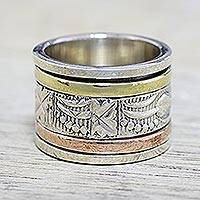 Sterling silver spinner ring, 'Entrancing Nature' - Sterling Silver Copper and Brass Indian Leaf Spinner Ring