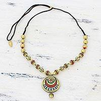 Ceramic pendant necklace, 'Glorious Gold' - Gold Tone Adjustable Ceramic Pendant Necklace from India
