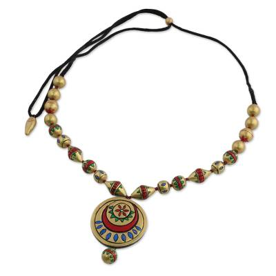 Gold Tone Adjustable Ceramic Pendant Necklace from India