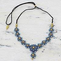 Ceramic pendant necklace, 'Heavenly Flowers' - Blue Floral Ceramic Pendant Necklace by Indian Artisans