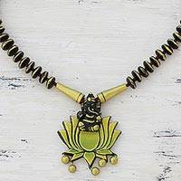 Ceramic pendant necklace, 'Kamal Ganesha' - Ceramic Pendant Necklace of Ganesha with Lotus from India