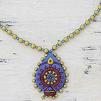 Ceramic pendant necklace, 'Floral Royalty' - Blue and Gold Tone Ceramic Pendant Necklace from India