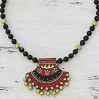 Ceramic pendant necklace, 'Midnight Royalty' - Hand Painted Ceramic Pendant Necklace by Indian Artisans