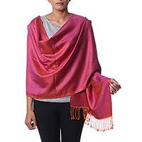 Silk shawl, 'Magenta Dreams' - Hand Woven Fringed Silk Shawl in Magenta from India