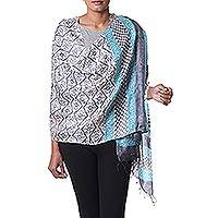 Silk shawl, 'Turquoise Maze' - Hand Woven Silk Shawl in Turquoise and Ivory from India