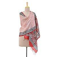 Silk shawl, 'Strawberry Waves' - Handwoven Silk Shawl in Strawberry and Coal from India