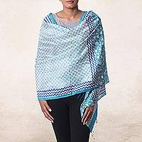Silk shawl, 'Turquoise Field' - Handwoven Silk Shawl with Turquoise Floral Motifs from India