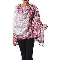 Silk shawl, 'Magenta Hearts' - Hand Woven Indian Silk Shawl with Ivory and Magenta Motifs
