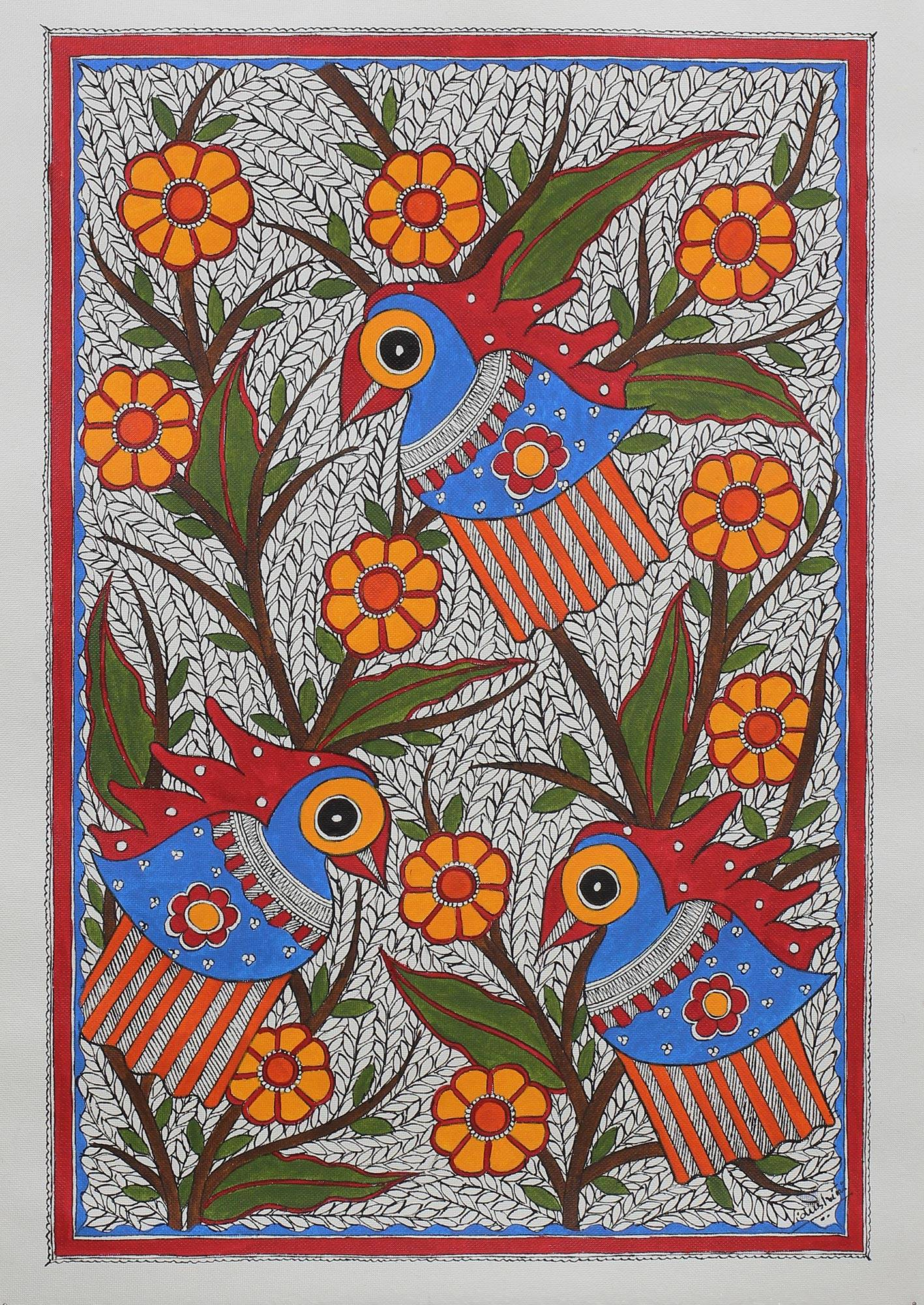 Folk art color chart acrylic paint - Madhubani Painting Jovial Parrots Traditional Indian Madhubani Painting Of Parrots And Birds