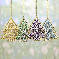 Embroidered ornaments, 'Colorful Holiday' (set of 4) - 4 Tree Shaped Multicolored Embroidered Ornaments from India