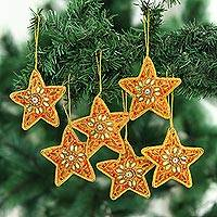 Embroidered ornaments, 'Fleur de Lis Christmas' - Set of Four Fleur de Lis Christmas Ornaments from India