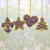 Beaded ornaments, 'Purple Christmas' (set of 4) - Set of Four Zari Embroidered Purple Ornaments from India