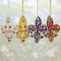 Ornaments, 'Colorful Fleur de Lis' (set of 4) - Set of Four Multicolored Fleur de Lis Ornaments from India