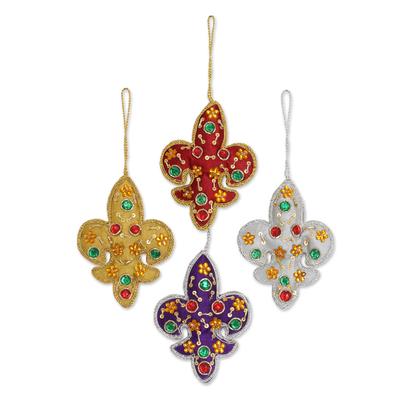 Ornaments, 'Colorful Fleur de Lis' (set of 4) - Set of - Set Of Four Multicolored Fleur De Lis Ornaments From India